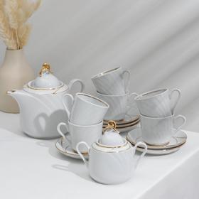 Сервиз чайный «Голубка. Бомонд», 14 предметов: чайник 1 л, 6 чашек 220 мл, 6 блюдец d=14 cм, сахарница 400 мл