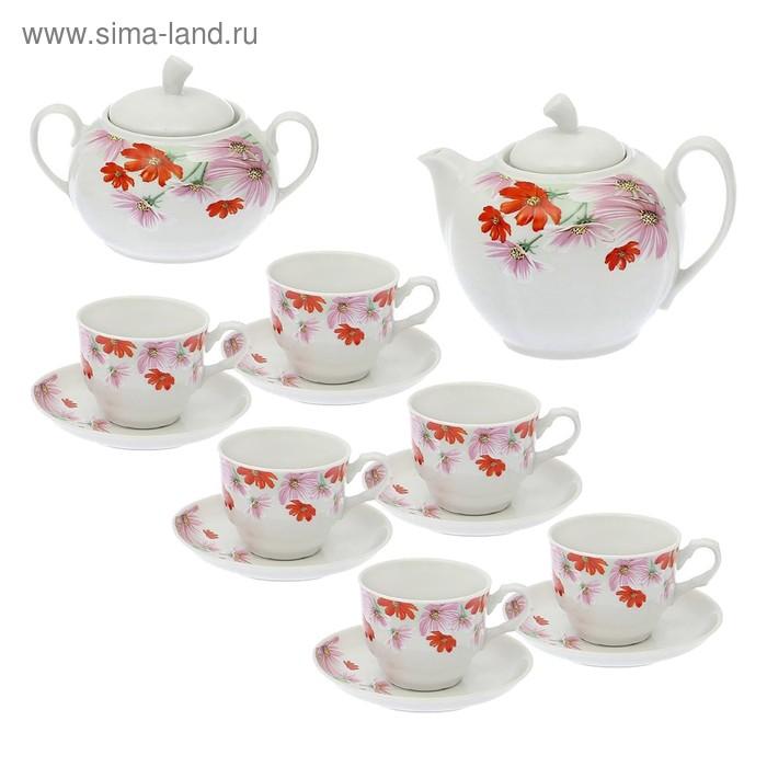 """Сервиз чайный """"Дыня. Космея"""", 14 предметов: чайник 1 л, 6 чашек 220 мл, 6 блюдец d=14 cм, сахарница 600 мл"""