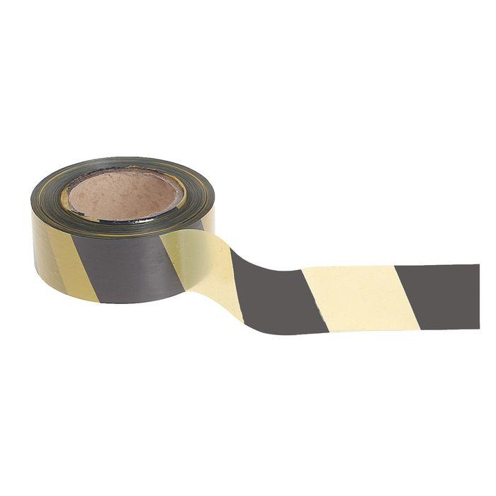 Лента оградительная, эконом, чёрно-жёлтая, ширина 5 см, 200 м
