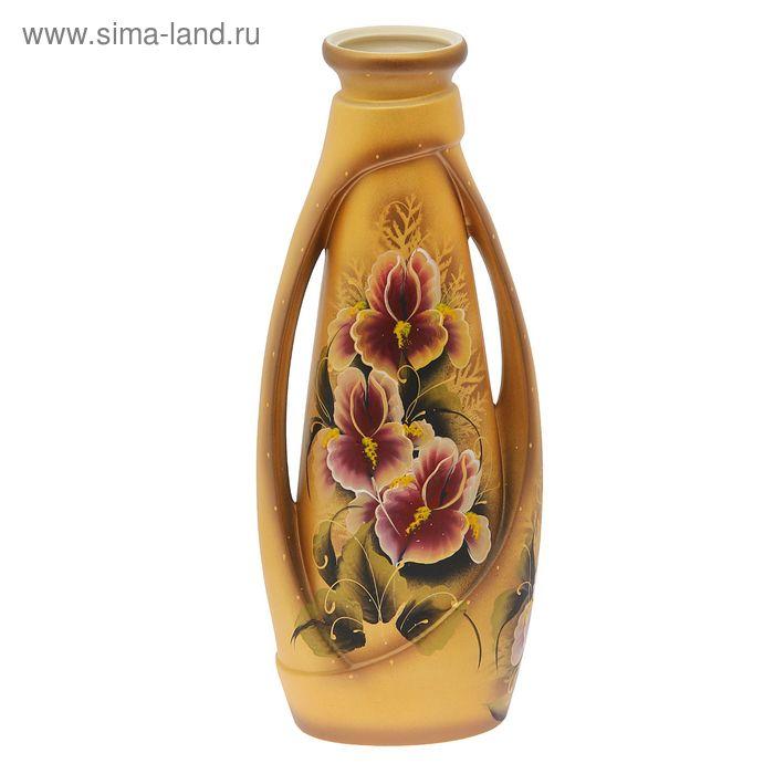 """Ваза напольная """"Венеция"""" цветы, акрил, золото"""