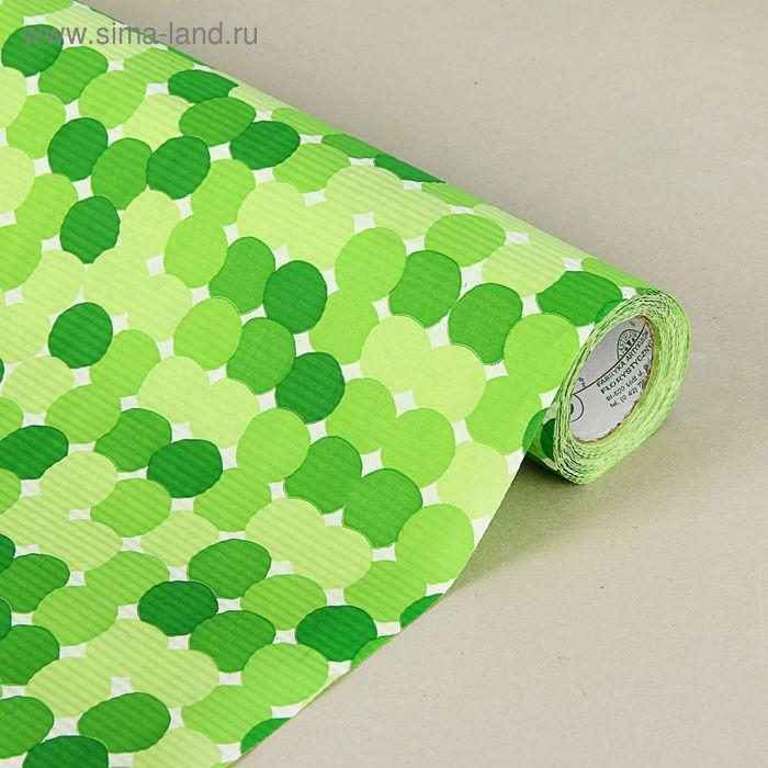 """Бумага упаковочная крафт """"Круги"""", салатово-зеленые, 0.5 х 10 м"""
