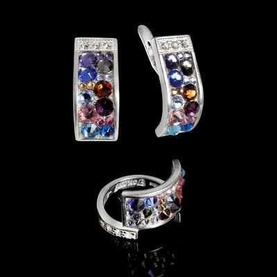 """Гарнитур 2 предмета: серьги, кольцо """"Кобра стр.""""  размер 16, цветной в серебре"""