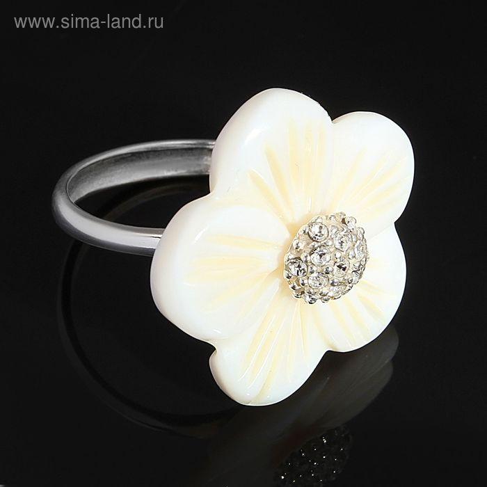 """Кольцо """"Ассамбле"""", размер 19, цвет белый в серебре"""