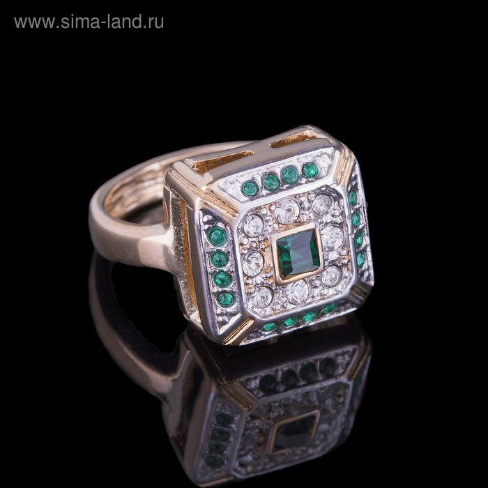 """Кольцо """"Юрстэ"""", размер 17, цвет бело-зеленый в золоте"""