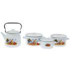 """Набор посуды """"Дачная"""", 4 предмета: кастрюли 1,5 л; 2,9 л; 3,9 л; чайник 3,5 л"""