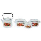 """Набор посуды """"Тюльпаны"""", 4 предмета: кастрюли 1,5 л; 2,9 л; 3,9 л; чайник 3,5 л"""