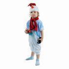 """Детский карнавальный костюм """"Снеговик в голубом жилете"""", велюр, комбинезон, шарф, шапка, рост 68-92 см"""