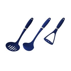 Набор кухонных принадлежностей CALVE, 3 предмета: половник, шумовка, картофелемялка, цвет МИКС