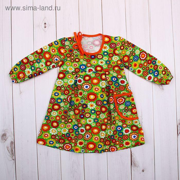 Платье для девочки, рост 86 см, цвет зелёный, принт цветы (арт. 711232-4_М)