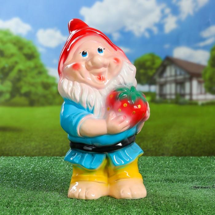 """Садовая фигура """"Гном с клубникой"""", разноцветный, 38 см, микс - фото 797730692"""