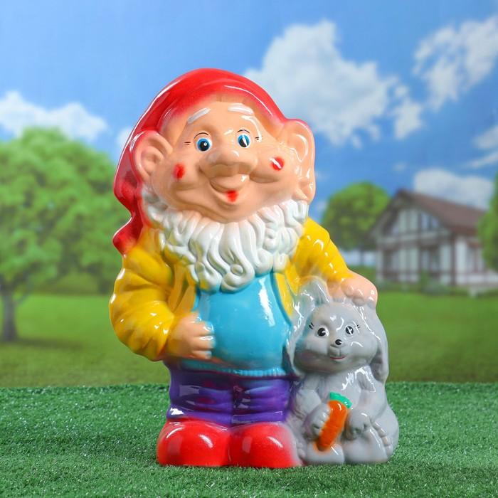 """Садовая фигура """"Гном с кроликом"""", разноцветный, 38 см, микс - фото 797730700"""