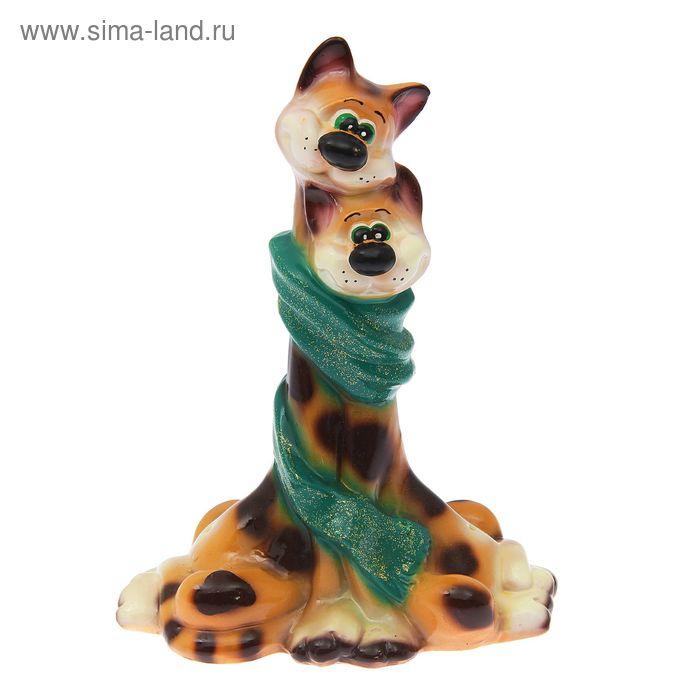 """Копилка """"Коты в шарфе"""" глянец, бежевый леопард"""