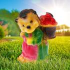 """Садовая фигура """"Ежиха с корзиной"""" глянец, коричнево-зелёная"""