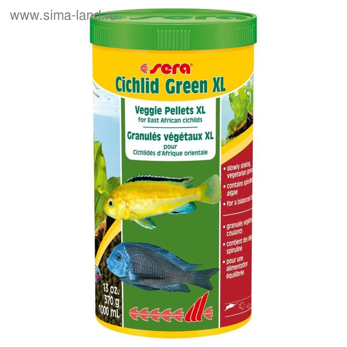 Корм для цихлид Sera Cichlid Green XL, 1 л, 370 гр.