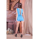 Платье с глубоким вырезом, размер S/L, голубое