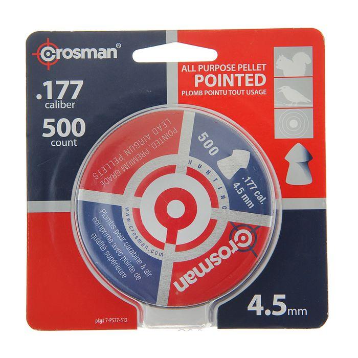 "Пули пневм. ""Crosman Pointed"", 4,5 мм., 7,4 гран ( 500 шт.) (12 в упаковке), 6-11245 (7-P577), шт"