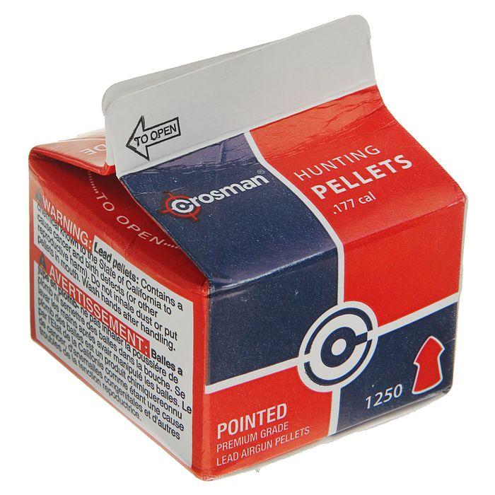 "Пули пневм. ""Crosman Pointed"", 4,5 мм., 7,4 гран, в карт. коробке (1250 шт.) (12 в упаковке), P1250,"