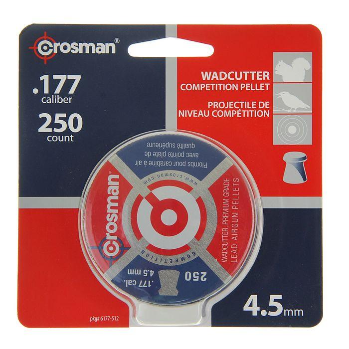 """Пули пневм. """"Crosman Wadcutter"""", 4,5 мм., 7,4 гран (250 шт.) (12 в упаковке), 6177, шт"""