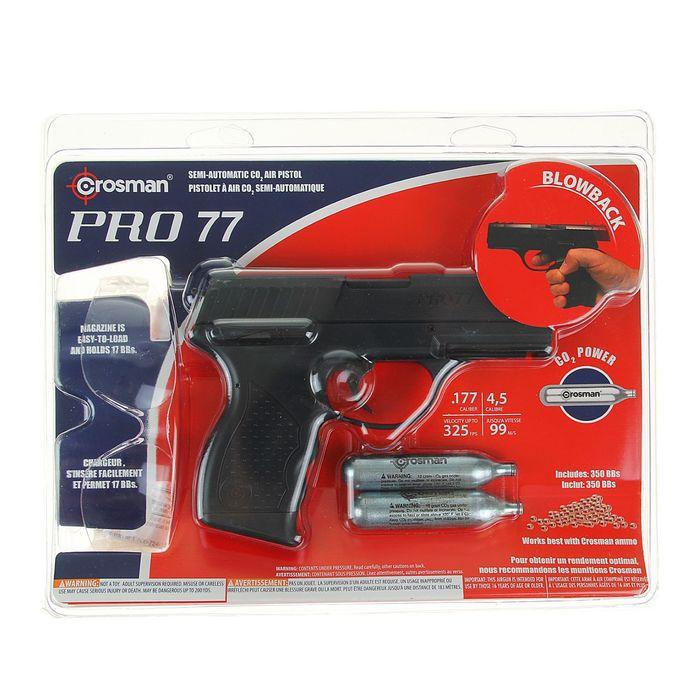 Пистолет пневм. Crosman PRO77 Kit (пули+очки+2баллончика), кал.4,5 мм, PRO77KT, шт