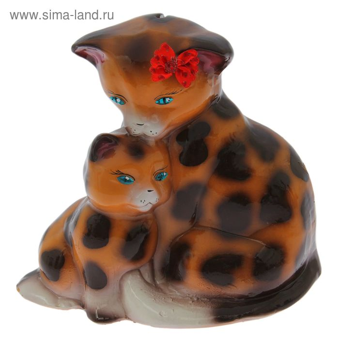 "Копилка ""Кошка с котёнком"" глянец, бежевый, леопард"