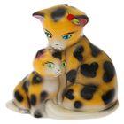 "Копилка ""Кошка с котёнком"" малая, глянец, жёлтый леопард"