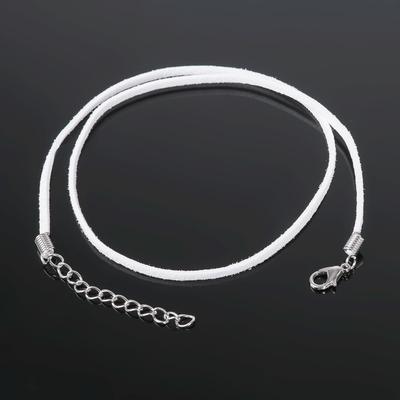 Шнур бархатный с замком, 43см+удлинитель, d=25мм, JP-010, 101 белый