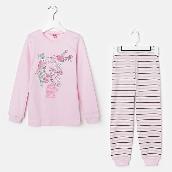 Пижама для девочки, рост 128 см (64), цвет светло-розовый