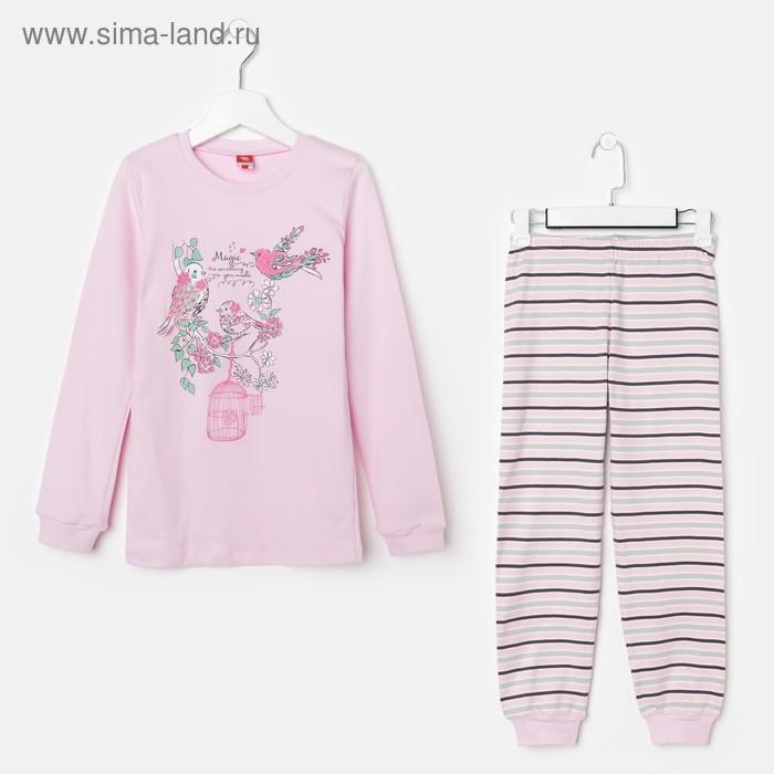 Пижама для девочки, рост 128 см (64), цвет светло-розовый CAJ 5280_Д