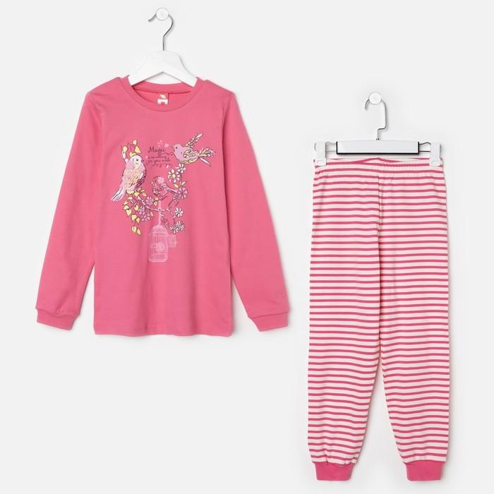 Пижама для девочки, рост 128 см (64), цвет розовый