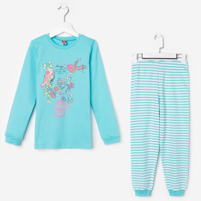 Пижама для девочки, рост 128 см (64), цвет бирюзовый