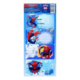 Стикер на подарок 'Герой', Человек Паук, для надписи Ош