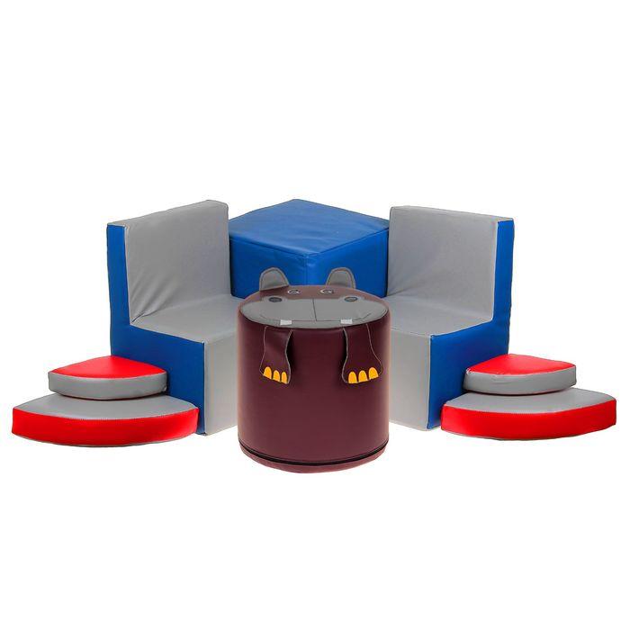 """Игровой набор мебели """"Бегемотик"""": 2 кресла, пуф, тумбочка, МИКС"""
