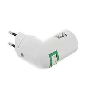 Ecola adapter, cartridge chuck, E14, 60 x 83 mm, with switch, white.