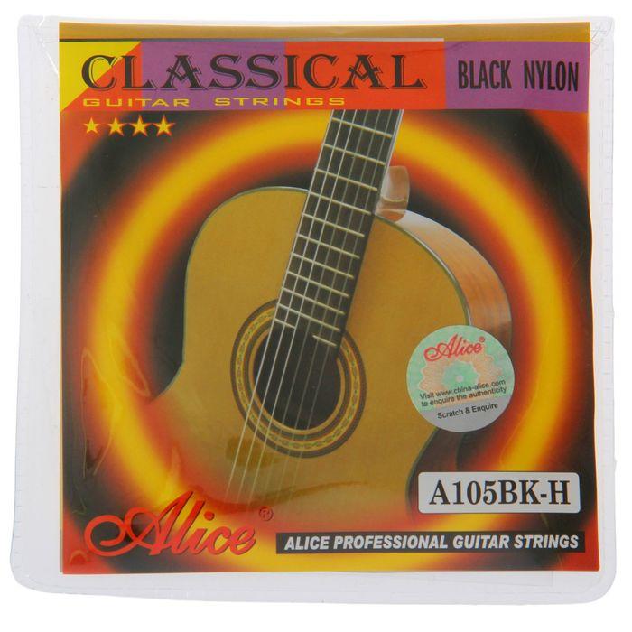 Струны для классической гитары Alice A105BK, черный нейлон-посеребренная медь, нормальное на