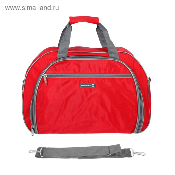 Сумка дорожная на молнии, 1 отдел, 2 наружных кармана, красная