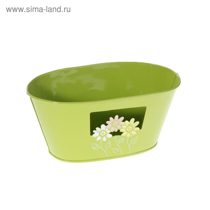 """Кашпо оцинкованное """"Цветочки"""" овальное, салатовое"""