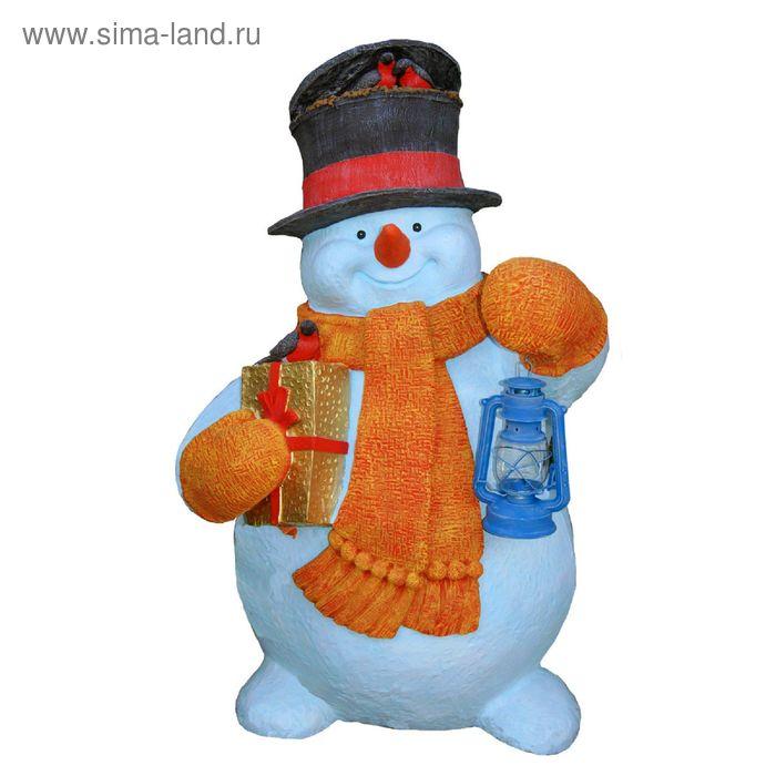 """Садовая фигура """"Снеговик с фонарём"""""""