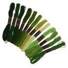 """Набор ниток мулине """"Спектр зелёный, 12шт, 8±1м, цвет зелёный/болотный/салатовый"""
