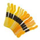 Набор ниток мулине, 12шт, 8±1м, цвет жёлтый