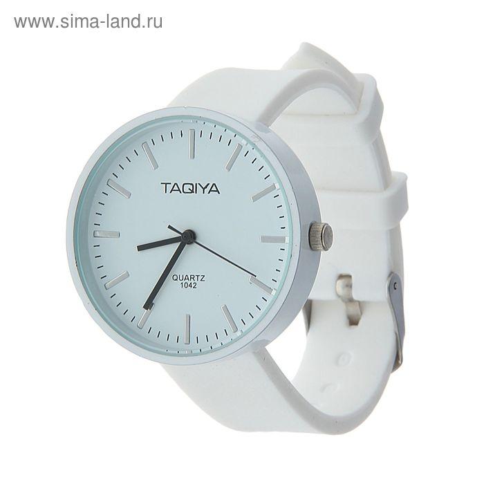 Часы наручные женские цветной циферб, накладные метал. риски, ремешок силикон белый