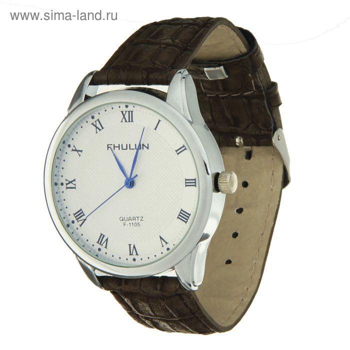 Часы наручные мужские белый циферблат, все римские цифры, ремешок с выделкой коричневый