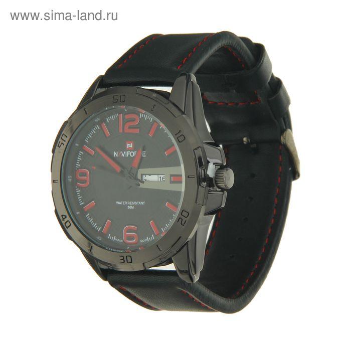 Часы мужские Naviforce с календарем красные цифры и ремешок черный