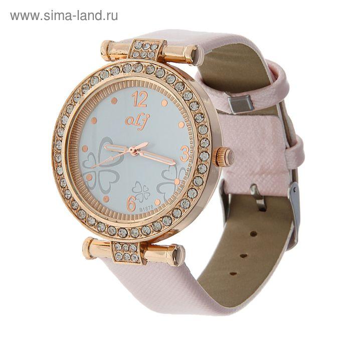 Часы наручные жен корпус стразы на циферблате узор, ремешок глянец розовый