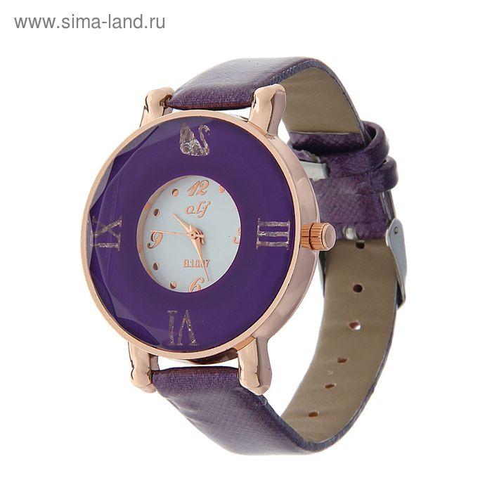 Часы наручные женские цветной ободок с римскми цифрами, ремешок сиреневый