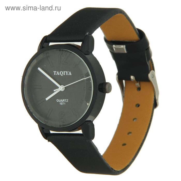 Часы наручные женские Taqiya выпуклые риски циферблат черный ремешок черный