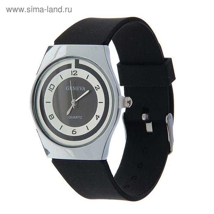 Часы наручные женские, циферблат перламутр, ремешок силикон черный