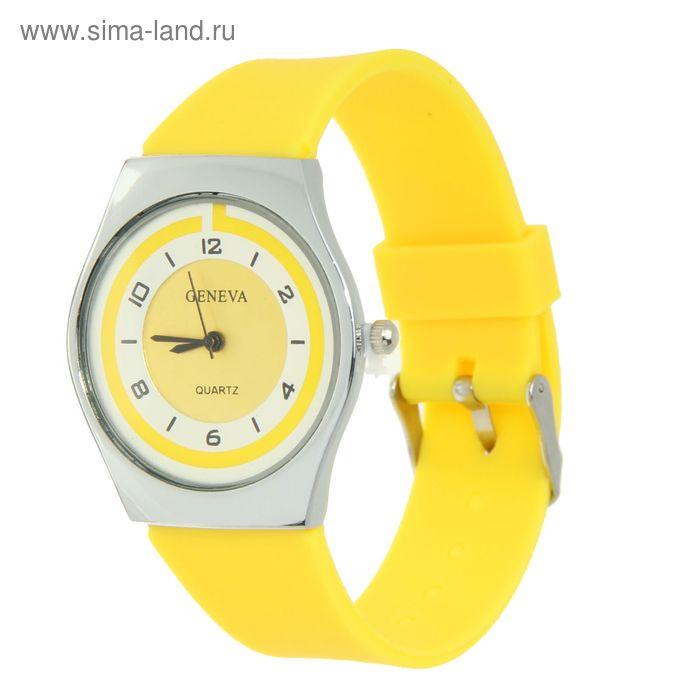 Часы наручные женские, циферблат перламутр, ремешок силикон желтый