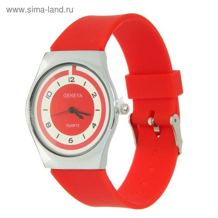 Часы наручные женские, циферблат перламутр, ремешок силикон красный