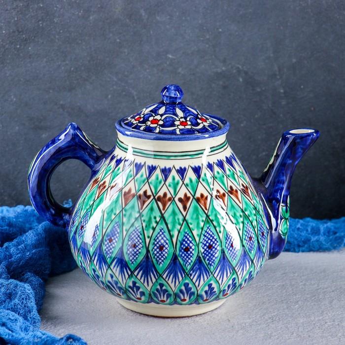 Чайник «Риштан», сине-зелёный орнамент, 1.6 л