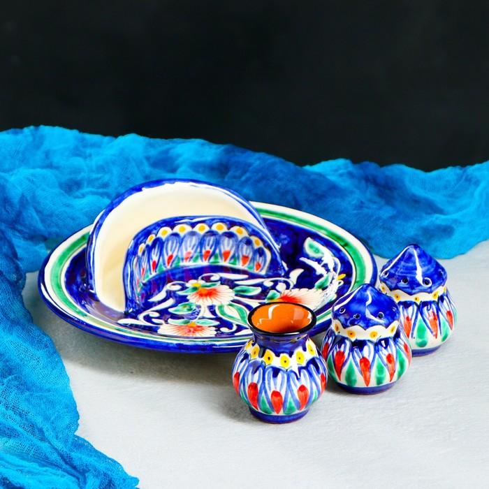 Набор «Лепестки», 5 предметов: салфетница, подставка для зубочисток, солонка, перечница, тарелка